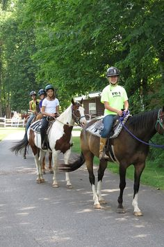 Going for a horse trail ride at WeHaKee Camp for Girls in Winter, WI.