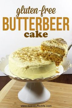 Easy CAKE MIX RECIPE hack to make an amazing GLUTEN FREE BUTTERBEER CAKE for your next HARRY POTTER party