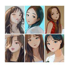 Fever Korean Aesthetic, Aesthetic Anime, Aesthetic Clothes, Sinb Gfriend, Gfriend Sowon, Bts Chibi, Anime Chibi, G Friend, Kpop Fanart