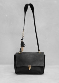 & Other Stories - Black Leather Tassel Shoulder Bag Leather Tassel, Leather Bag, Black Leather, My Bags, Purses And Bags, Orange Bag, Black Crossbody, Vogue, Leather Shoulder Bag
