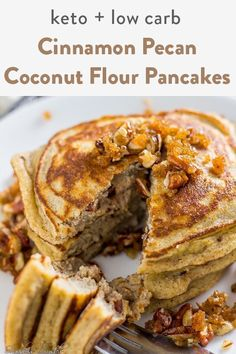 diet These keto cinnamon pecan coconut flour pancakes drenched in sugar free maple syrup create the ultimate low carb breakfast item. Moist, buttery pancakes with a pecan crunch. Coconut flour p Dairy Free Pancakes, Coconut Flour Pancakes, Coconut Flour Recipes, Pancakes Easy, Low Carb Pancake Recipe Coconut Flour, Pecan Pancakes, Low Carb Pancakes, Ketogenic Recipes, Low Carb Recipes
