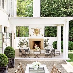 """Day dreaming about finally getting our garden and """"Outdoor Living Area"""" whipped into shape this Summer! Have always admired this beautiful space by the lovely @suzannekasler featured in @archdigest #yardgoals @thissummer #outdoorliving #peagravelplease #projectprettyplease"""