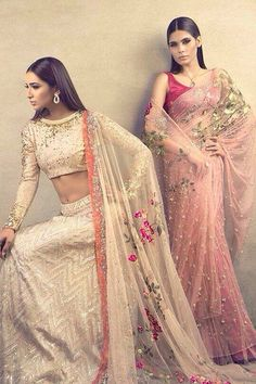Pastel coloured lehenga and saree with blouse. Indian fashion.