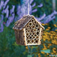 Mason bees don't sting, and they make great pollinators for your garden. When hung from house or tree, this bee house, made from natural, weather-resistant bamboo, attracts the female bees, who lay their eggs within the house's tubes.