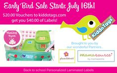 Save 50% on Kiddo Tags, Personalized Laminate Labels by purchasing vouchers through our wonderful Partners. Sale Start July 16, 2013. Limited time only.