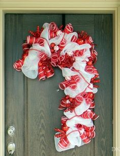 Handmade Christmas Deco Mesh Wreath, 2013 Christmas Candy Cane Mesh Wreath