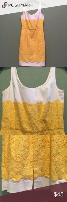 Antonio Melani floral embroidery dress White dress embellished with yellow floral embroidery. Slit in back. Invisible zip. Worn once for a wedding. ANTONIO MELANI Dresses Midi