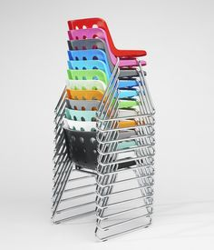 Many colours for Robin Day polo sled chair Art Furniture, Vintage Furniture Design, Contemporary Chairs, Modern Chairs, Metal Chairs, Cool Chairs, Lucienne Day, Robin Day, Vintage Chairs