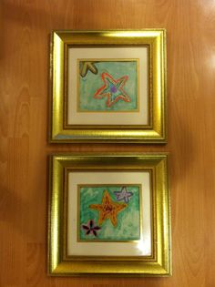 Max and Grace's starfish watercolor art for our bathroom. Loved how they turned out!