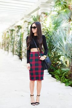 Crop Top and pencil plaid skirt