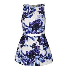 Ally Fashion Blue floral print skort playsuit (45 CAD) ❤ liked on Polyvore…