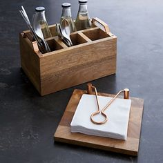 Beck Flatware Caddy - Crate and Barrel Cutlery Caddy, Condiment Holder, Silverware Holder, Utensil Holder, Wood Projects, Woodworking Projects, Kitchen Utensil Organiser, Modern Napkins, Mobile Design