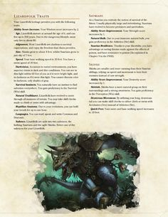 DnD Homebrew — Lizardfolk by Pattycakeee Dnd 5e Races, D D Races, Dungeons And Dragons Races, Dungeons And Dragons Homebrew, Warhammer Fantasy, Fantasy Rpg, Fantasy Creatures, Mythical Creatures, Dnd Classes