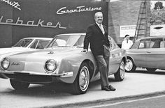 Raymond Loewy with the Avanti at the Paris Auto show in 1961. Gauld photo.