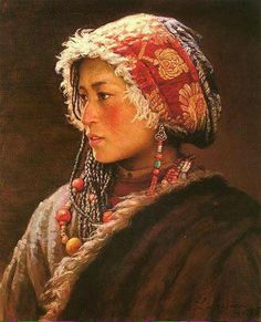 Li Zijian Chinese, from Hunan: Tibet Girl 1996 Cultures Du Monde, World Cultures, Costume Ethnique, Ethno Style, Purple Love, Interesting Faces, Mode Outfits, Mode Style, People Around The World