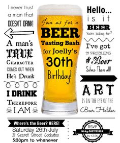 Beer Tasting Party Invite Invitation - CUSTOM MADE - Digital File for you to print on Etsy, $15.00 AUD