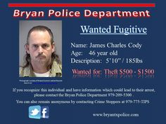 James Cody wanted for Theft
