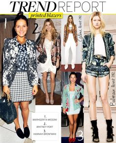 """Printed Blazers    The blazer has earned its place in our closet's staple section- its always there for you when you need to look a bit more tailored. But why not add a fun spin to this said """"stuffy"""" garment by choosing a printed style! Printed blazers are a great way to add excitement to any look.  NOTE: not really my thing, but it is a trend."""