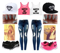 """""""whip & nae nae"""" by looks-lie ❤ liked on Polyvore featuring Asics, NIKE, women's clothing, women's fashion, women, female, woman, misses and juniors"""