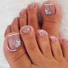 French Pedicure, Manicure E Pedicure, Mani Pedi, Gel Nails, Acrylic Nails, Nail Polish, Bridal Toe Nails, Feet Nail Design, Latest Nail Designs