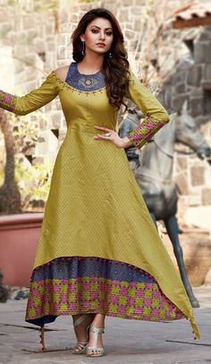 Glimmer Lime Green Double Layered Cold Shoulder Kurti - Wash care: Machine wash 30 degree gentle cycle, wash inside out wash dark colours separately, do not bleach, tumble dry low, warm iron. Pakistani Dresses, Indian Dresses, Indian Outfits, Kurta Designs Women, Blouse Designs, Cold Shoulder Kurti, Look Fashion, Indian Fashion, Robe Anarkali