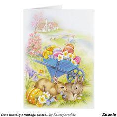 Cute nostalgic vintage easter bunnies