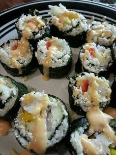 Cauliflower rice sushi ,  what!!  That's right the entire experience of sushi without the calories and carbs from sushi rice.  Hint make sure a strain the cauliflower rice well or your seaweed paper won't hold up.  Enjoy!