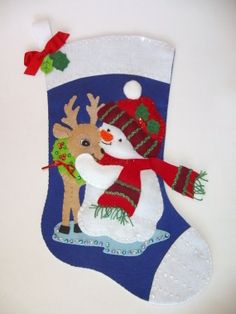 3d3fa7180ccf Stocking Snowman with Deer Christmas Holiday Newly Completed Vintage Felt  Kit