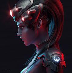 Widowmaker Art - Created by Przemek Nawrocki Overwatch Widowmaker, Overwatch Wallpapers, Wonder Woman Art, Fantasy Girl, Manga, Anime, Video Games, Fandoms, Dibujo