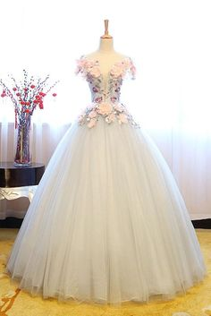 Gray lace applique tulle long prom gown, tulle evening dress, sweet 16 dress