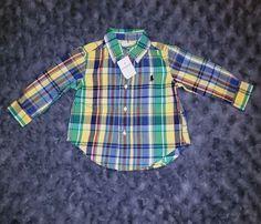 204ca41a944d NWT Ralph Lauren Baby Boy Clothes 9 Months One Piece Long Sleeve Plaid  Shirt  fashion