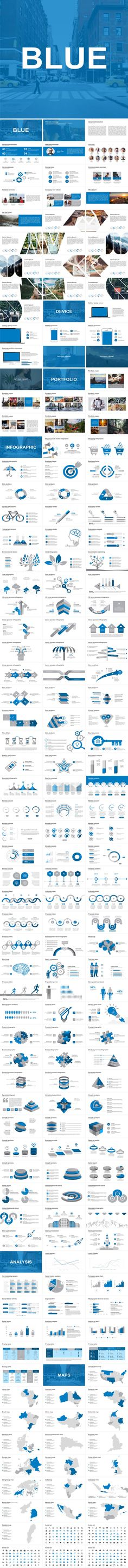 Buy Blue Powerpoint Template by AlekKsalll on GraphicRiver. You can complete your Presentation with this template, even you know of Powerpoint, because all of the elements a. Ppt Design, Business Powerpoint Templates, Keynote, Presentation, Blue