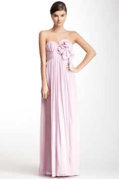 A.B.S. by Allen Schwartz Long Silk Ruffle Trim Dress