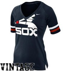 Nike Chicago White Sox Ladies Cooperstown Collection Fan V-Neck Slim Fit T-Shirt - Navy Blue