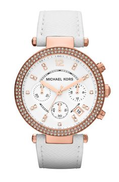 Michael Kors 'Parker' Chronograph Leather Watch White/ Rose Gold