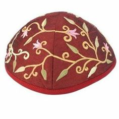 Embroidered Kippah Flowers Magenta of $14.00 only.  his soft, elegant kippa is a beautiful way to express your Judaism as well as your style. This beautiful red kippa is machine embroidered and features an elegant floral design.It would be a wonderful present for a Bar or Bat Mitzvah, birthdays, or for any Jewish Holiday. For info visit http://yarmulkes.com/system/scripts