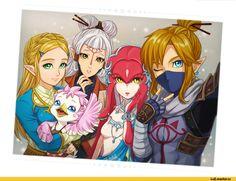 The Legend of Zelda, fandoms, LoZ art, Link, Princess Zelda, Paya, Mipha, み っ つ ん, Breath of the Wild