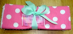 Pink Polka Dot & Peace Sign Burp Cloth Set of 3 by Amandamaetucker, $15.00