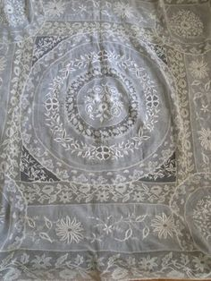ANTIQUE LACE-FRENCH NORMANDY TABLECLOTH