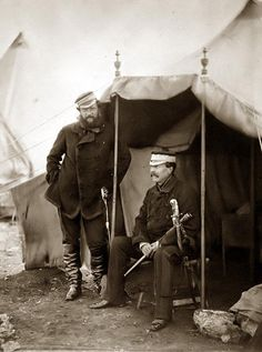 Lieutenant General Sir John Campbell & Captain Hume, his aide-de-camp, the general sitting, taken during the Crimean War.