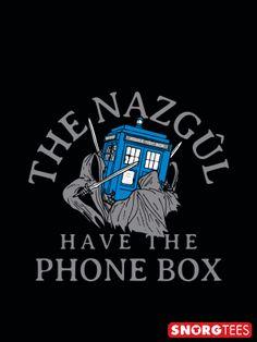 """The Nazgul Have The Phone Box"" black t-shirt"