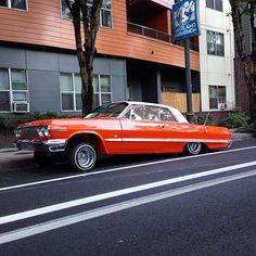 #pdxlowriders #orangecrush #customcar #hittinswitches #slowandlow #lowrider #flyride