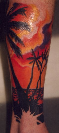 Beach Scene with Palm Trees Tattoo by Mike Bellamy     -    perhaps more pink and purple and blue