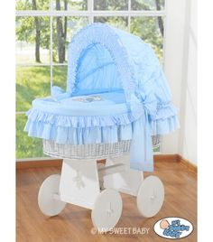 Wicker Crib Vintage Moses Basket bassinet Teddy with canopy in Blue-white - BabyShoppingMarket.com #babyshoppingmarket #wicker #crib