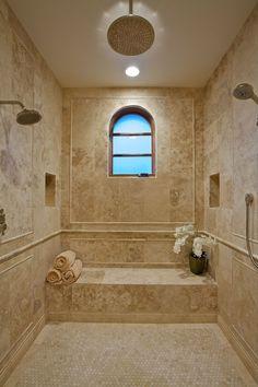 Mediterranean 3/4 Bathroom with Handheld showerhead, Rain shower, Moen brushed nickel posi temp (r) shower only