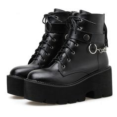 Dr Shoes, Cute Shoes, Me Too Shoes, Boots Gifts, Block Heel Boots, Block Heels, Punk Fashion, Gothic Fashion, Designer Shoes