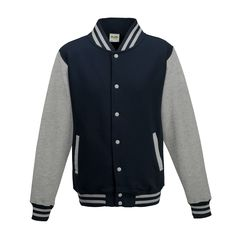 Just Hoods JH043 Oxford Navy and Heather Grey Varsity Jacket - £19.35