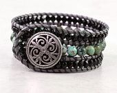 Gray Leather Cuff Bracelet Leather Wrap Bracelet Black Green African Turquoise Boho Bracelet Made To Order Cuff Bracelet Bohemian Jewelry