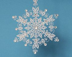 "*QUILLING ~ Stunning Sparkler - ""Lighting up the World"" Stellar Dendrite Snowflake – Quilled / Filigree in Bright White - Christmas Tree Ornament"
