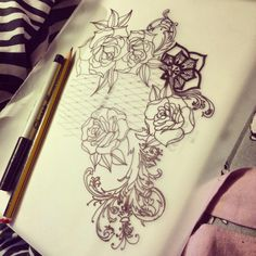 Black & grey rose/lace/filigree tattoo. Extension to existing one